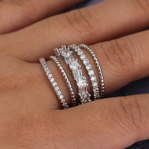 NEW 925 Sterling Silver Diamond Multi Band Ring